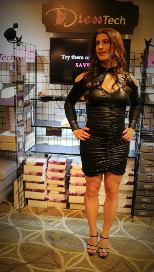 Diana Wearing SHORT DressTech Crossdressing Hip Pads at booth