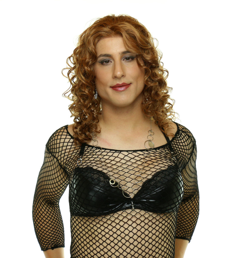 Diana with mesh top and MEDIUM Aphrodite crossdressing breast forms