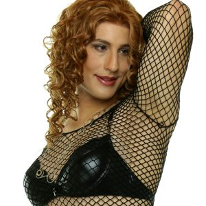 Diana in black mesh top with MEDIUM Aphrodite crossdressing breast forms
