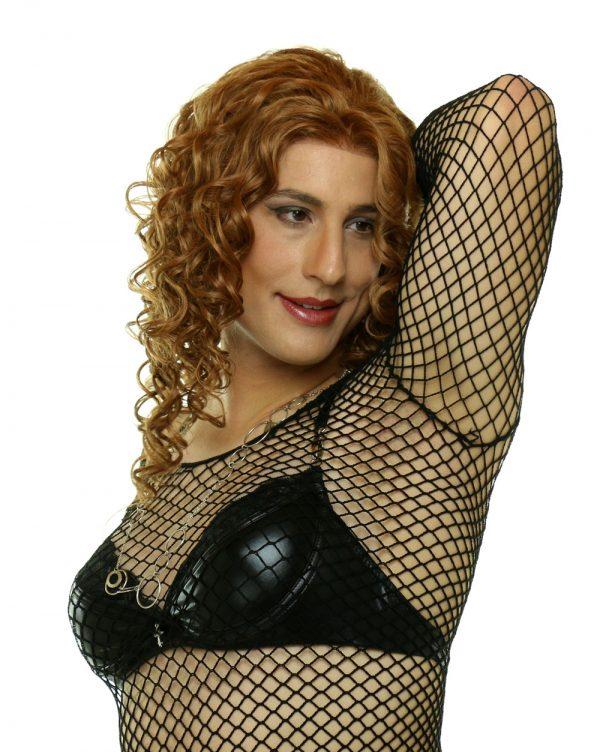 Diana in black mesh top with MEDIUM Aphrodite crossdressing breast forms