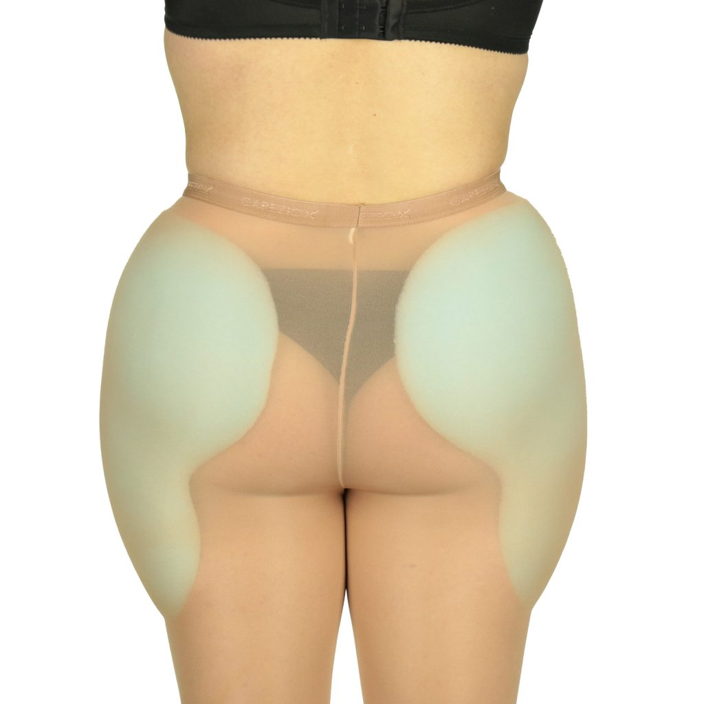 Foam hip pads under panty hose back view