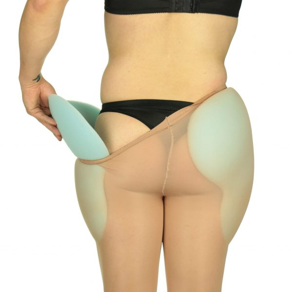 Foam hip pads under pantyhose back view