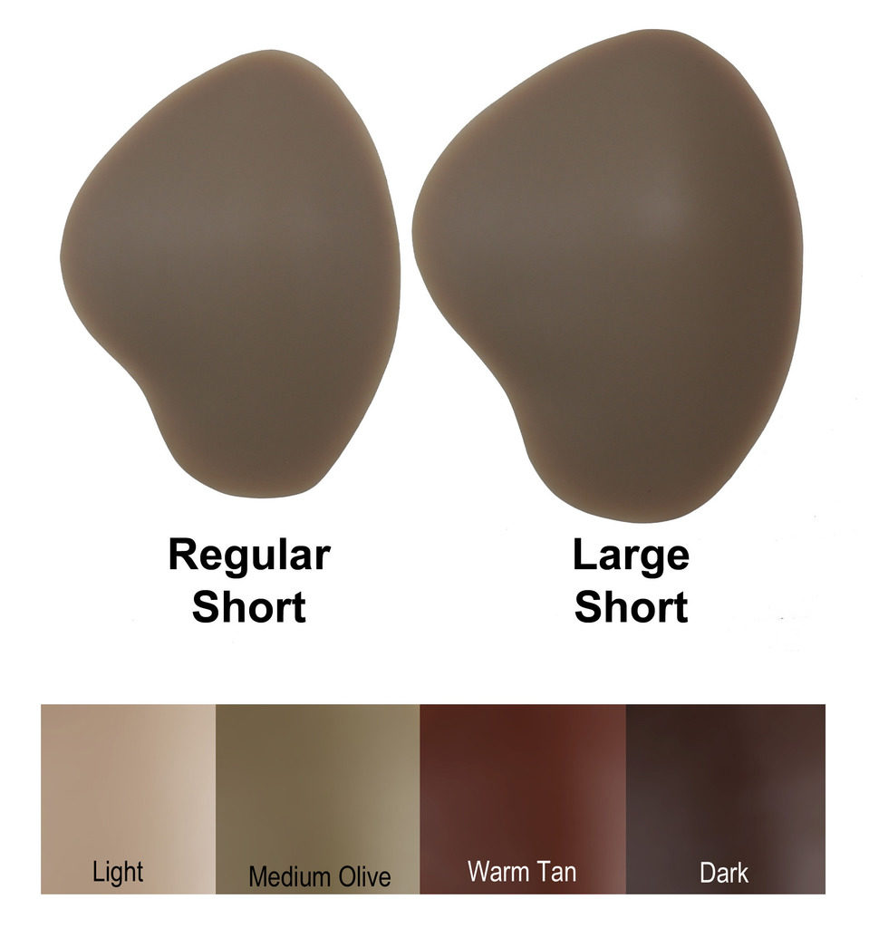 REGULAR and LARGE short DressTech crossdressing hip pads with color chart