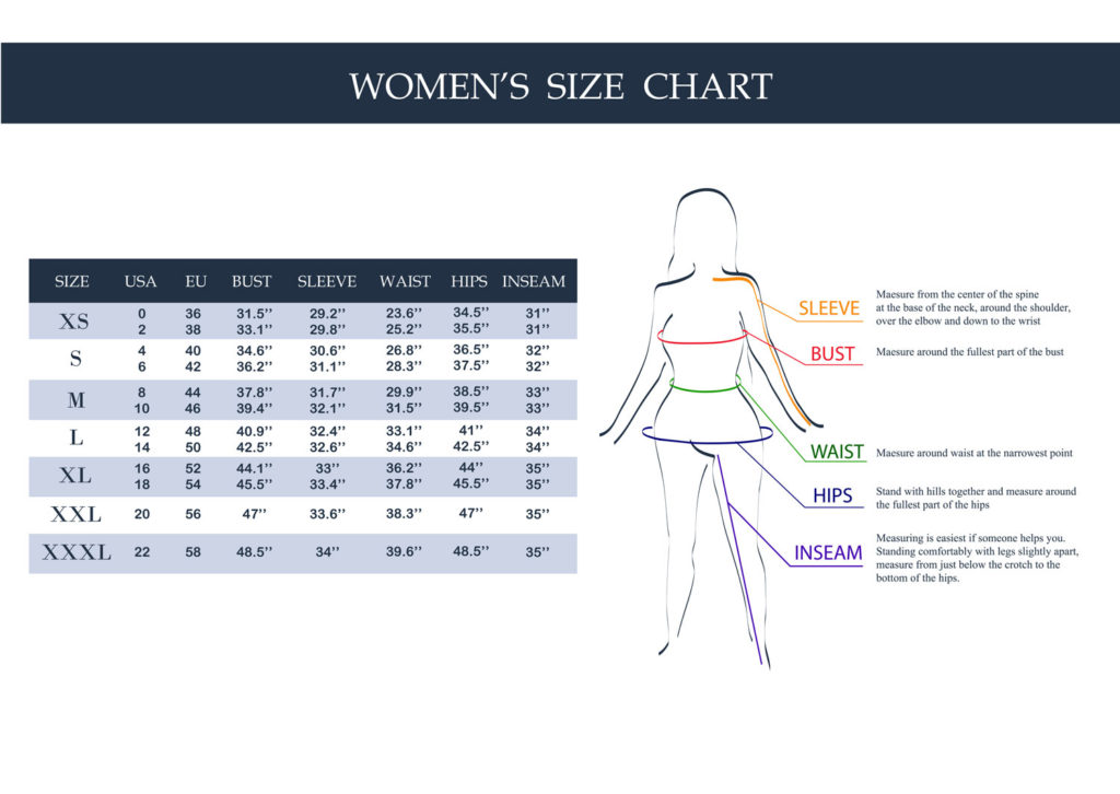 size chart for crossdresser clothing or drag queen clothing