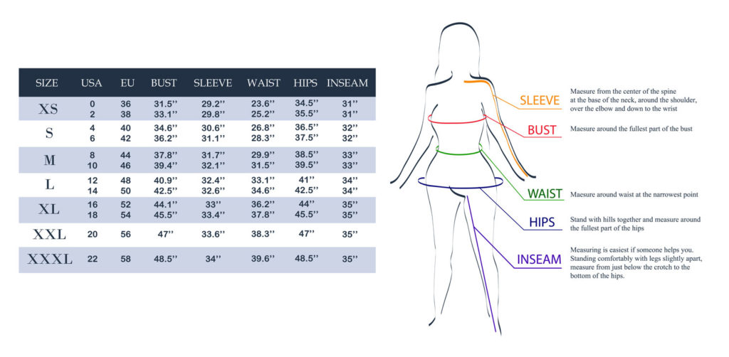 size chart for crossdresser clothing and crossdresser outfits