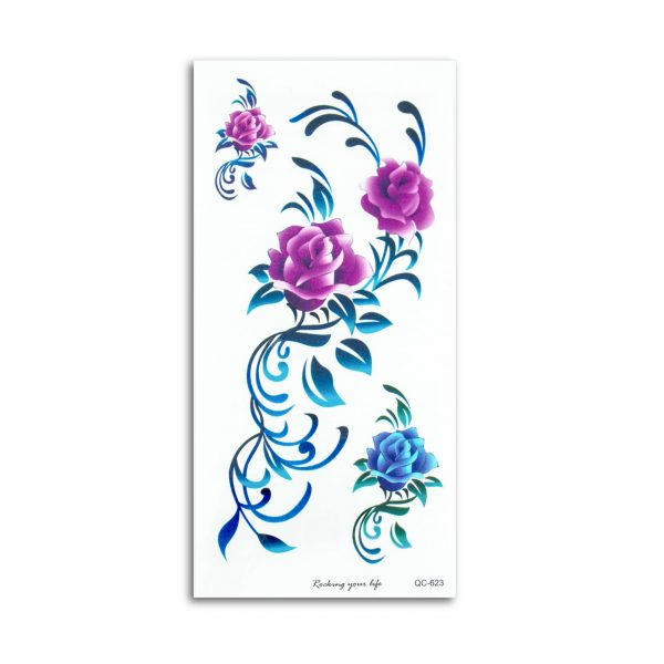 tattoo_rose-pink-and-blue-floral-pattern