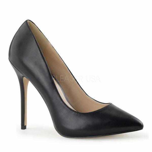 Debbie heels for men black faux leather