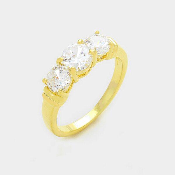 Gold Ring 3 Crystals