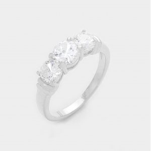 Silver Ring 3 Crystals