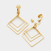 Gold Triple Geo Hoop Earring