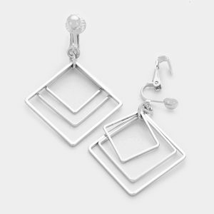 "Triple geo hoop clip on earings. Silver color. 1.25"" x 2"""