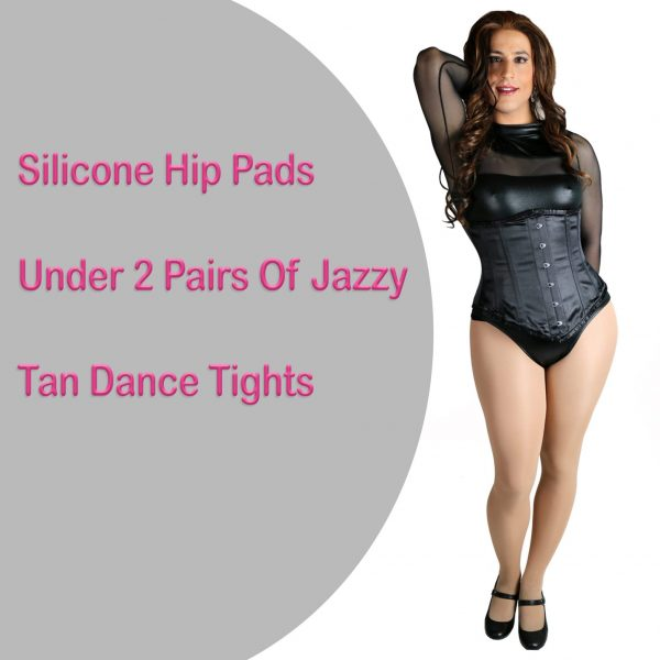 A crossdresser shows hip pads under dance tights