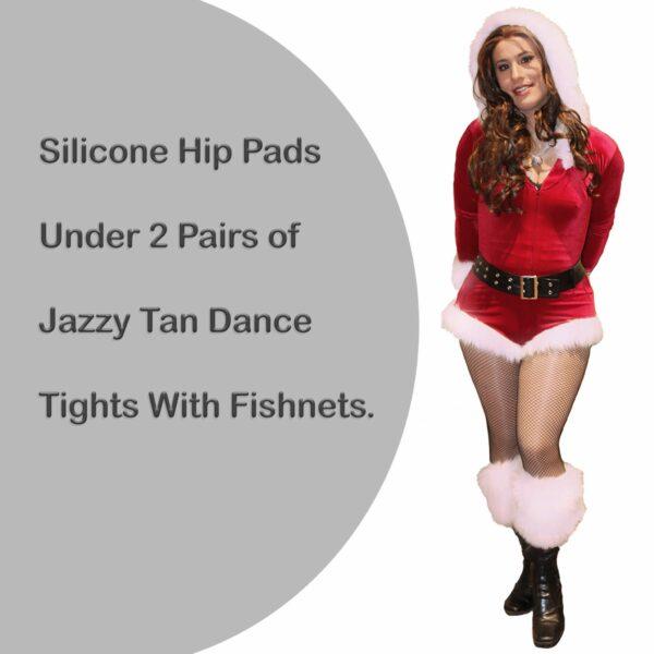 Crossdressing Santa Diana Hip Pad & Fishnet w Jazzy Tan Dance Tights
