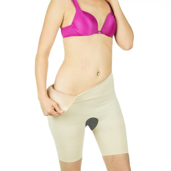 Frong view crossdressing crotchless garment with hip pad