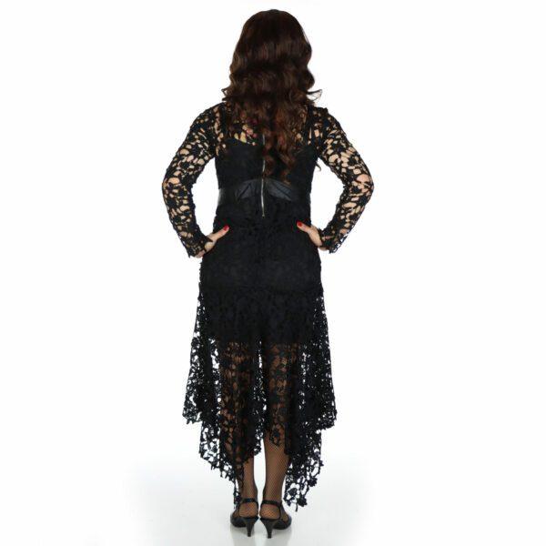 crossdresser black dress, rear view