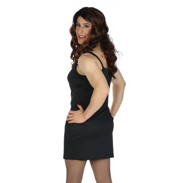crossdresser black slip dress