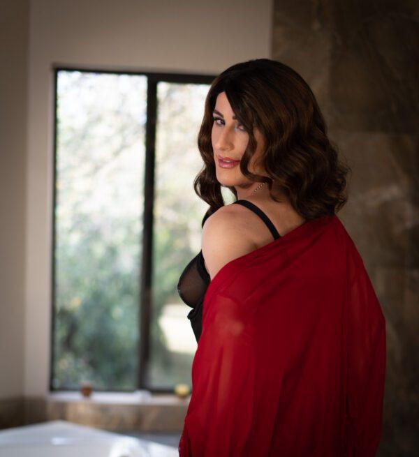 crossdresser lace robe, lingerie, red
