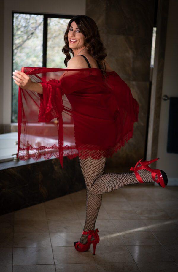 red crossdresser lingerie, sheer