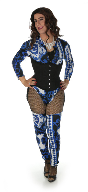 blue crossdresser bodysuit