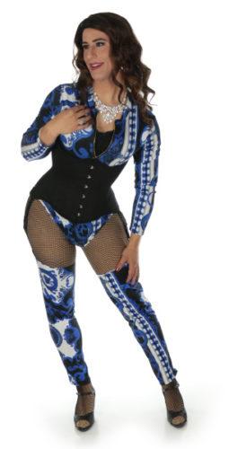 blue crossdresser bodysuit with corset
