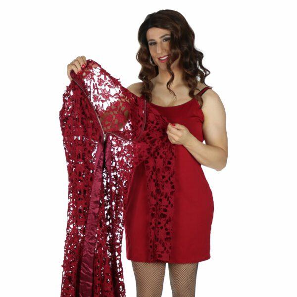 Crossdresser Red Dress with slip