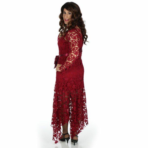 Crossdresser Red Dress, rear view