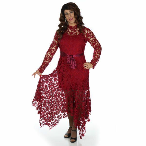 Crossdresser Red Dress with lace net