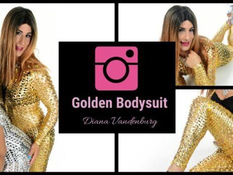sexy crossdresser pictures, golden bodysuit