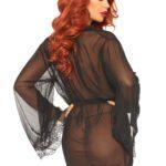 Sheer Robe Set – Black Rear view