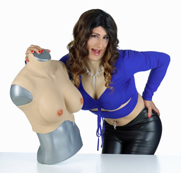 Diana wearing breast plate showing breast plate on mannequin